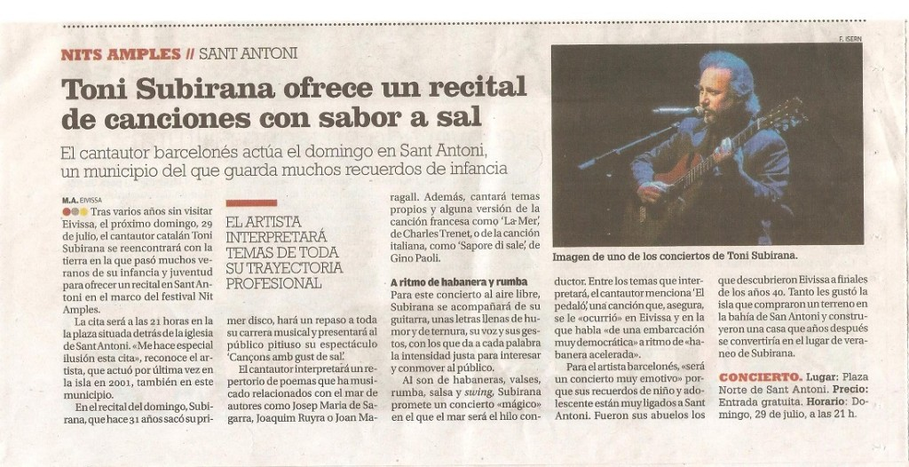 Recorte de prensa del Diario de Ibiza del 27 de julio de 2018